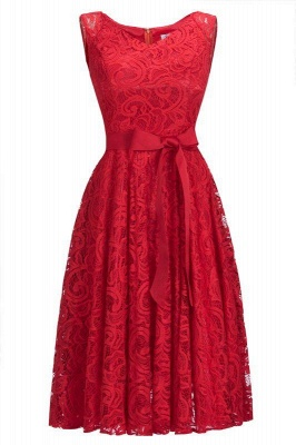Chicloth Simple Sleeveless A-line Red Lace Dresses with Ribbon Bow_1