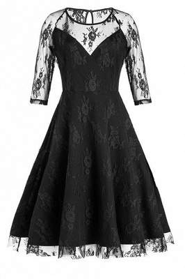 A| Chicloth Black Half Sleeves Hollow Women Lace Dress_1