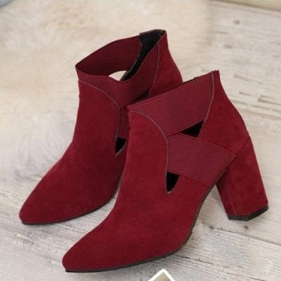 B| Chicloth Autumn Women Pointed Flock Boots_3