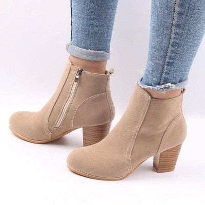 Suede Chunky Heel Zipper Daily Round Boots_5