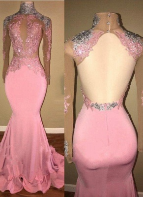 A| Chicloth Elegant Pink Mermaid Prom Dresses | High Neck Lace Appliques Beaded Evening Gowns_2