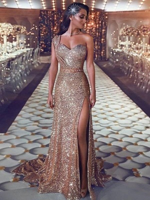 Chicloth Sheath Sleeveless One-Shoulder Sweep/Brush Train With Beading Sequins Dresses_1