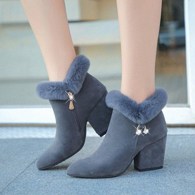 Suede Daily Zipper Chunky Heel Fur Pointed Boots_2