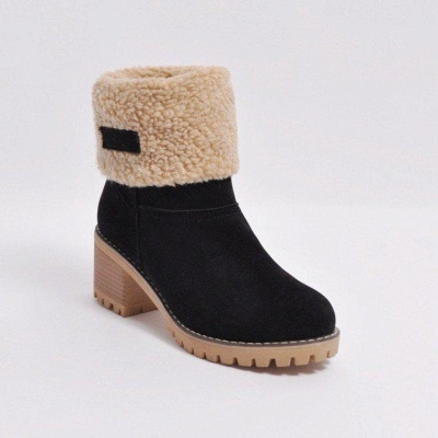 A  Chicloth Women's Winter Short Boots Round Toe Snow Boots_3