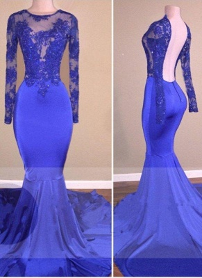 Chicloth Royal-Blue Long-Sleeves Open-Back Mermaid Shiny Sheer Prom Dresses_2