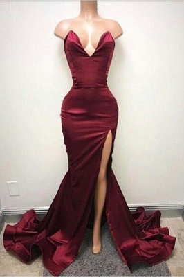 B| Chicloth Burgundy Mermaid Prom Dresses Sweetheart Evening Gowns_1