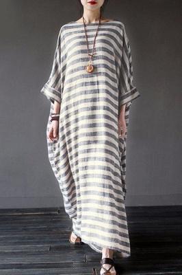 A Chicloth New Fashion Women Casual Loose Dress Striped Cotton Long Dress_3