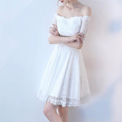 A| Chicloth White A-line Knee-length Lace Dress_4