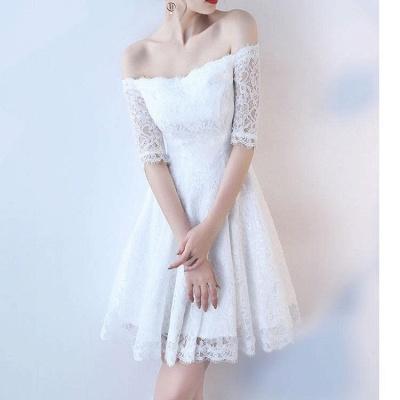 A| Chicloth White A-line Knee-length Lace Dress_2