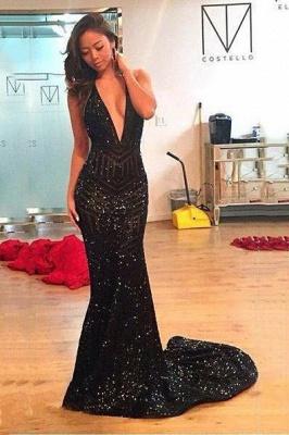 Chicloth Black Sequins Open-Back Halter Deep-V-Neck Mermaid Prom Dress_1