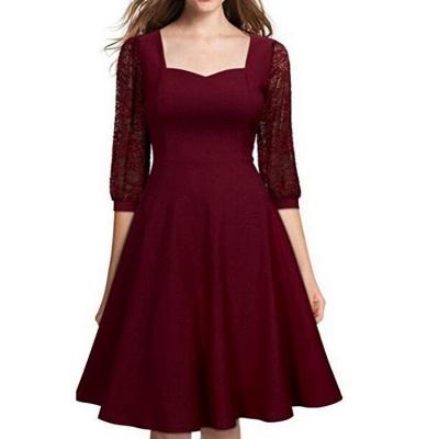 A| Chicloth Burgundy A-line Half Sleeve Lace Dress_5