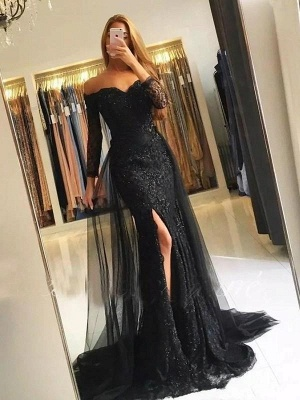 Chicloth Mermaid Long Sleeves Off-The-Shoulder Sweep/Brush Train Tulle Lace Dresses_2