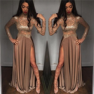 Chicloth High Neck Champagne Gold Sexy Evening Dress Splits Long Sleeve Illusion Prom Dress 2019 FB0061_2