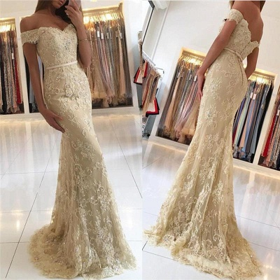 Chicloth Elegant 2019 Lace Mermaid Prom Dresses Off the Shoulder Beading with Belt_3