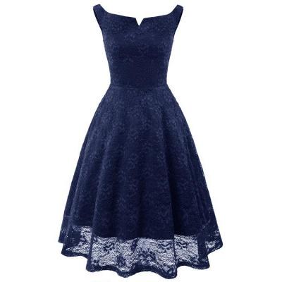 A| Chicloth Pink Sleeveless A-Line Lace Dress_5