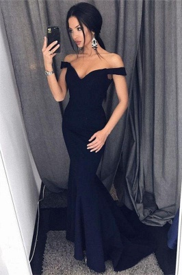 Chicloth Sexy Mermaid Evening Dresses Off-the-Shoulder V-Neck Long Prom Dresses_1