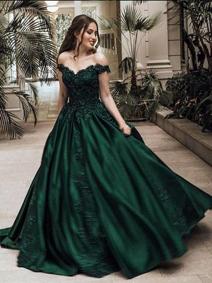 Chicloth Ball Gown Off-the-Shoulder Sleeveless Floor-Length With Lace Satin Dresses_1
