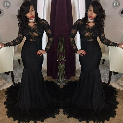 Chicloth Sexy Black Lace Tulle Prom Dresses | Mermaid Long Sleeve Cheap Evening Gown 2019 FB0277_2