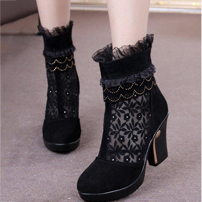 Lace Black Beading Suede Platform Winter Boots_2