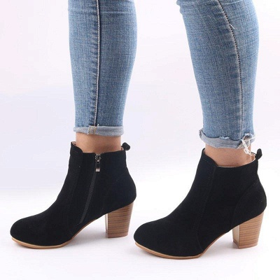 Suede Chunky Heel Zipper Daily Round Boots_3