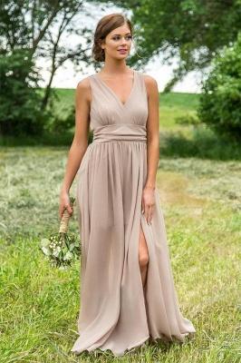 Chicloth V Neck Chiffon Bohemia Long Bridesmaid Dresses_4