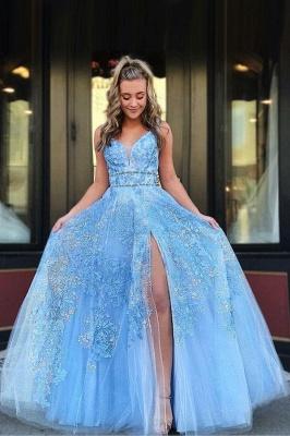 B  Chicloth Light Blue Floor Length Sleeveless Lace Prom Dresses_1