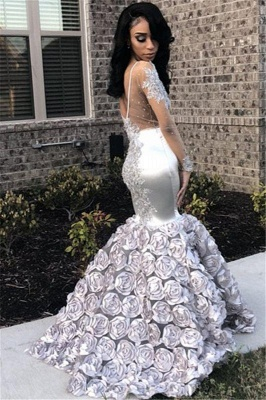 Chicloth Silver Flowers Sexy See Through Prom Dresses 2019 | Long Sleeve Beads Lace Mermaid Graduation Dress FB0371_2