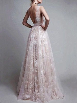 Chicloth A-Line V-Neck Floor-Length Tulle Sleeveless With Applique Dresses_2