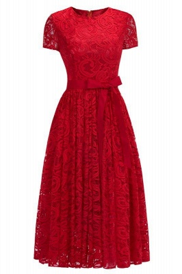 Chicloth Short Sleeves Seath Red Lace Dresses with Ribbon Bow_2