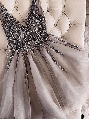 Chicloth A-Line Sleeveless V-neck Tulle With Sequin Short/Mini Dresses_1
