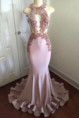 Chicloth Shiny Pink Mermaid Prom Dresses | Appliques Open Back Evening Gowns_1