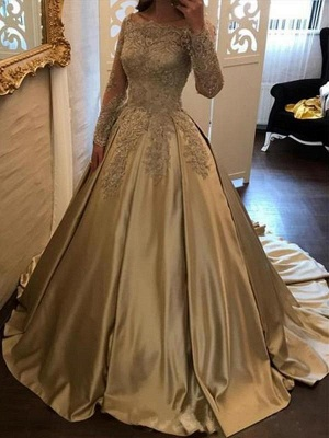 Chicloth Ball Gown Long Sleeves Off-the-Shoulder Sweep/Brush Train With Applique Satin Dresses_2