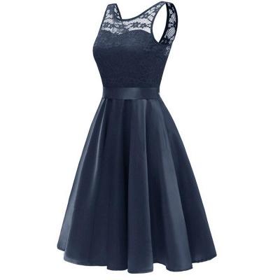 A  Chicloth Sleeveless Burgundy Knee-Length Women's Lace Dress_2