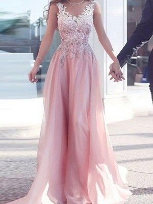 Chicloth A-Line Chiffon Sweetheart Sleeveless Floor-Length With Applique Dresses_1