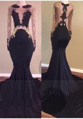 Chicloth Sexy Black Long-Sleeve Lace Mermaid Zipper Prom Dress_2