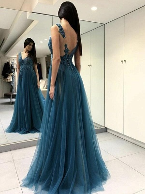 Chicloth A-Line Sleeveless V-Neck Floor-Length With Applique Tulle Dresses_1