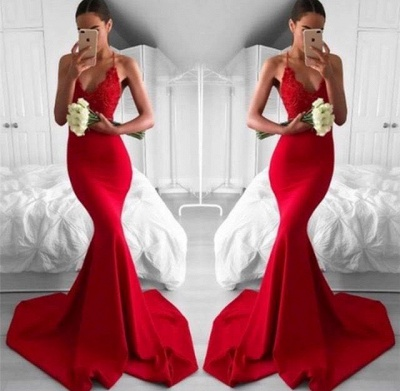 Chicloth Sexy Red V-Neck Lace Mermaid Lace Long Prom Dress_2