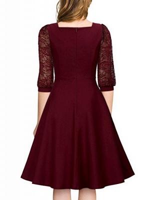 A| Chicloth Burgundy A-line Half Sleeve Lace Dress_4