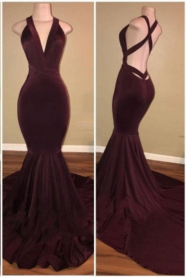 Chicloth Sexy Burgundy Mermaid Prom Dresses Crisscross Back Evening Gowns_2