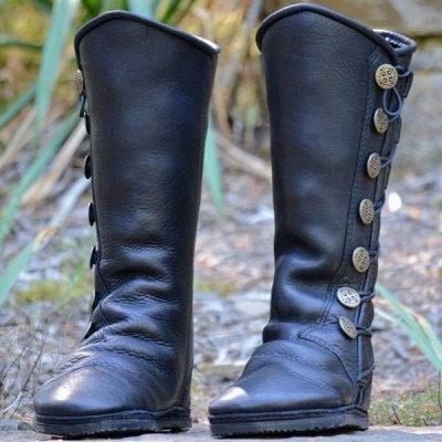 B| Chicloth Women Fashion Leather Boots Side Buttons Bandage Boots_3
