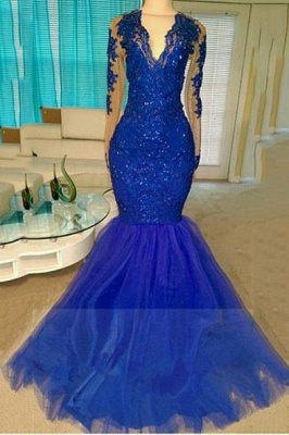 A| Chicloth Royal-Blue Long-Sleeve Beading Sequins V-neck Appliques Mermaid Tulle Prom Dresses_1