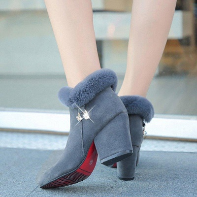 Suede Daily Zipper Chunky Heel Fur Pointed Boots_3