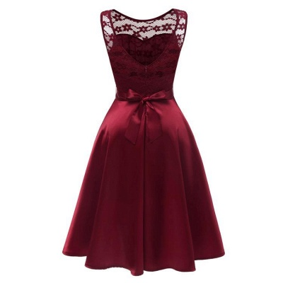 A| Chicloth Sleeveless Burgundy Knee-Length Women's Lace Dress_5