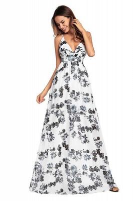 B| Chicloth Bohemia Floral V Neck Backless Maxi Dress_8