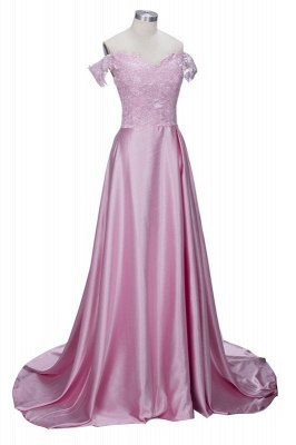 A| Chicloth THERESA | A-line Floor Length Split Off-the-Shoulder Lace Prom Dresses_5