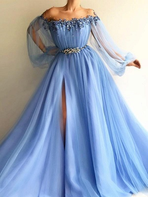 Chicloth A-Line Long Sleeves Off-The-Shoulder Tulle With Beading Floor-Length Dresses_1