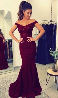 Chicloth Elegant Off-the-Shoulder Mermaid Lace Beadings Long Evening Dress_3