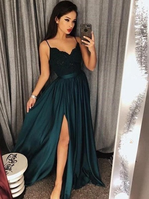 Chicloth A-Line Spaghetti Straps Sleeveless Floor-Length With Lace Satin Dresses_1