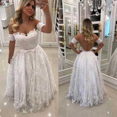 Modern White Beads Lace A-line Evening Dress | Off-the-shoulder Evening Gown_3