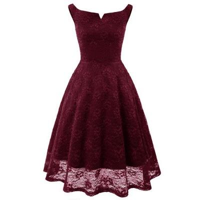 A| Chicloth Pink Sleeveless A-Line Lace Dress_4